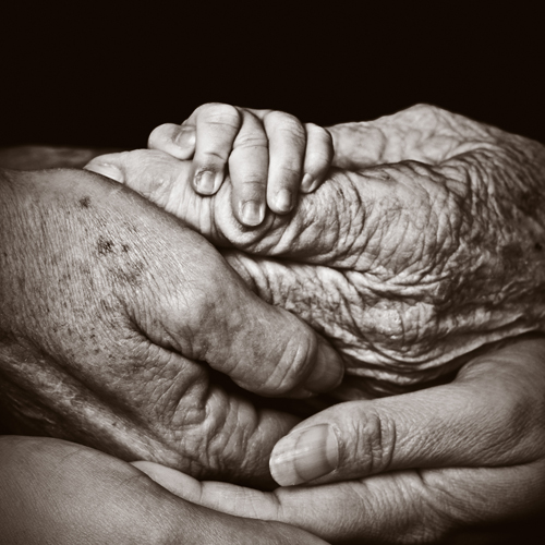The layered hands of several generations in a family.