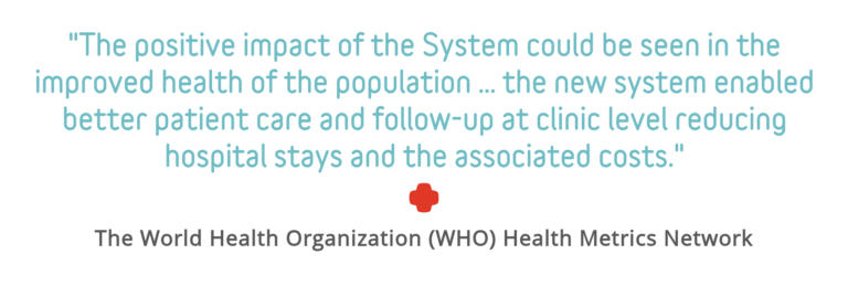 "Quote Block: ""The positive impact of the system could be seen in the improved health of the population ... the new system enabled better patient care and follow-up at clinic level reducing hospital stays and the associated costs."" - The World Health Organization (WHO) Health Metrics Network"